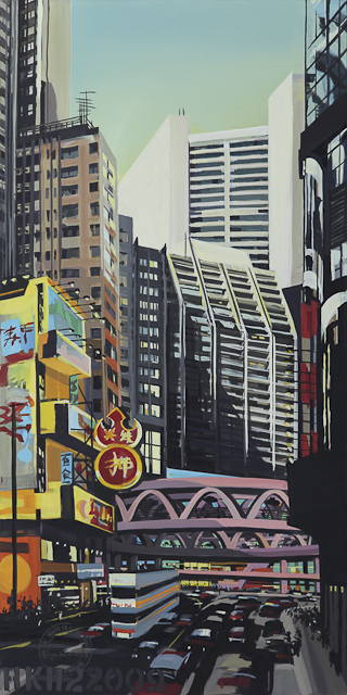 La passerelle rose à Causeway Bay - Hong Kong - Une oeuvre de Michelle Auboiron