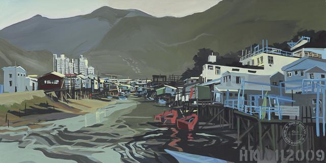 Tableau - acrylique sur toile de Tai O - Lantau Island - Hong Kong - par Michelle Auboiron