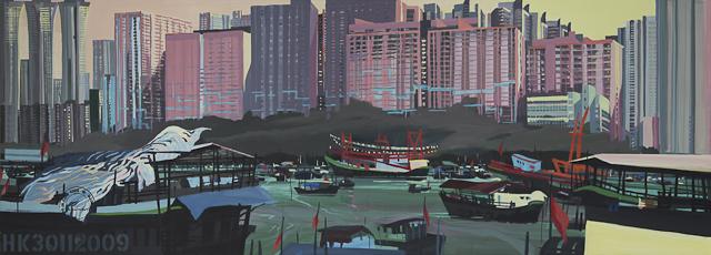 Tableau du port d'Aberdeen avec Ap Lei Chau en arrière plan - Peintre : Michelle AUBOIRON