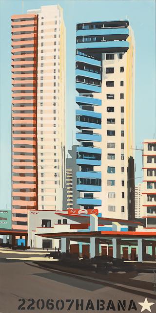 Les tours du Malecon - Toile de Michelle Auboiron