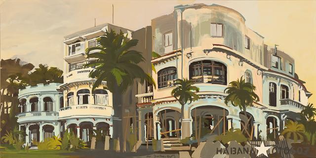 La maison ronde - Architecture cubaine - Tableau de Michelle Auboiron