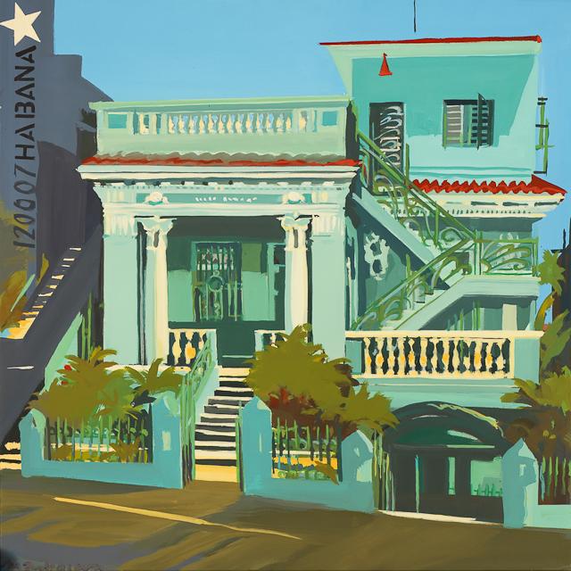 Peinture des maisons de la Havane par Michelle Auboiron