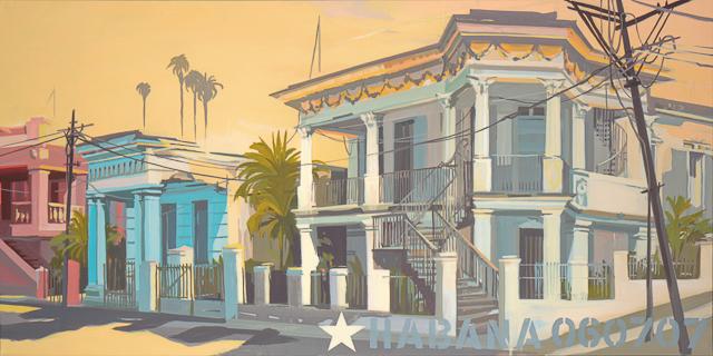 Peinture d'architecture de la Havane par Michelle Auboiron