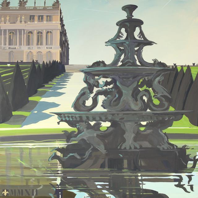 La Fontaine de la Pyramide - Peinture du Parc du Château de Versailles par Michelle AUBOIRON