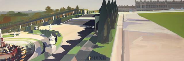 Panoramique du Bassin de Latone Peinture live du Parc du Château de Versailles par Michelle AUBOIRON