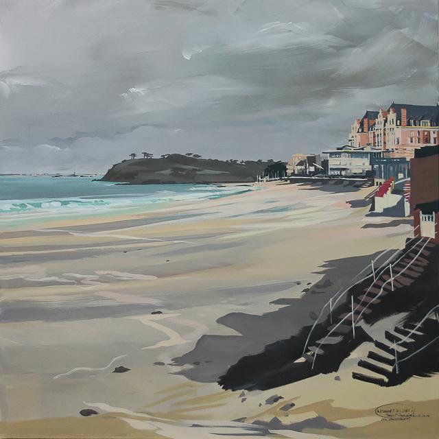 Peinture du Grand Hôtel et de la Grande plage de Saint Lunaire par Michelle AUBOIRON