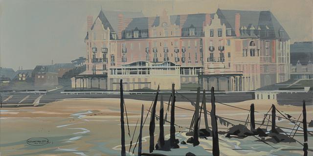 Peinture du Grand Hôtel - Plage de Saint Lunaire - Côte d'émeraude - Bretagne - par Michelle AUBOIRON