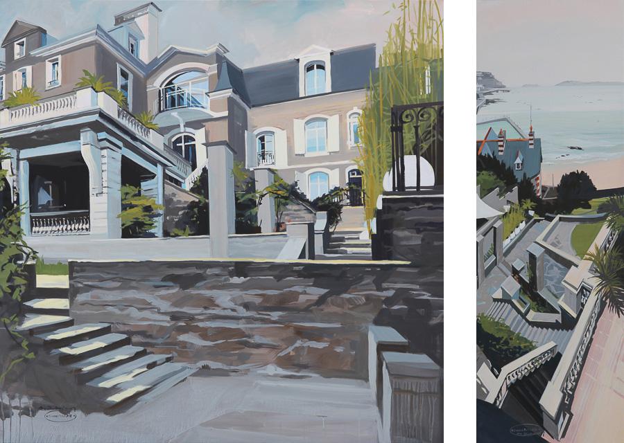 Peinture de Dinard par Michelle AUBOIRON - La plage du Prieuré et la Villa Le Tacon - Diptyque