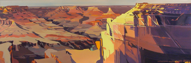 Peinture de l'Ouest américain par Michelle Auboiron - Grand Canyon - Arizona - Mohave Point