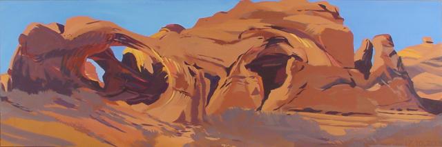 Peinture de l'Ouest américain par Michelle Auboiron - Double Arch - Arches National Park - Moab - Utah