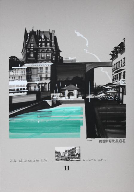La cale et le Bric à Brac - Peinture de Dinard par Michelle Auboiron - Acrylique sur carton 100 x 70 cm