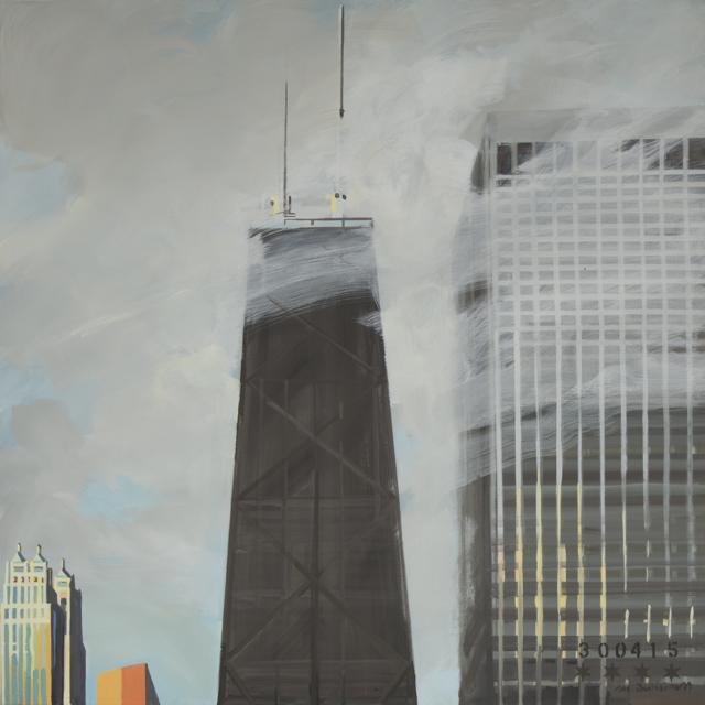 Peinture de Chicago par Michelle AUBOIRON - Painting of Chicago by Michelle AUBOIRON - John Hancock Center in the fog from the studio