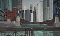 Peinture de Chicago par Michelle AUBOIRON - Painting of Chicago by Michelle AUBOIRON - On Wells Street Bridge