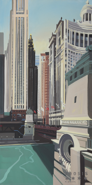 Peinture de Chicago par Michelle AUBOIRON - Painting of Chicago by Michelle AUBOIRON - DuSable Bridge on Michigan Avenue