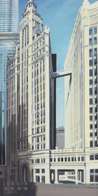Peinture de Chicago par Michelle AUBOIRON - Painting of Chicago by Michelle AUBOIRON - Wrigley Building