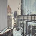 Peinture de Chicago par Michelle AUBOIRON - Painting of Chicago by Michelle AUBOIRON - Wrigley Building and Tribune Tower from IBM Building
