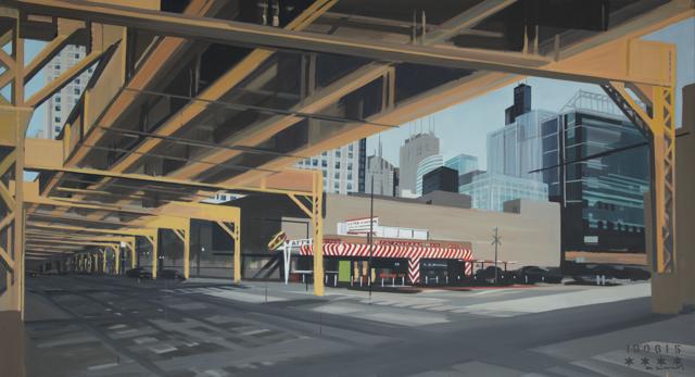 Peinture de Chicago par Michelle AUBOIRON - Painting of Chicago by Michelle AUBOIRON - The Fast Track Diner under the L on W Lake Street