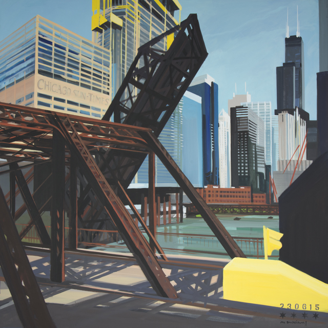 Peinture de Chicago par Michelle AUBOIRON - Painting of Chicago by Michelle AUBOIRON - Kinzie Street Bridge