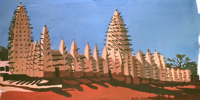 """Le """"Dakar"""" 1999 - La mosquée de Bobo Dioulasso - Burkina Faso - Peinture - acrylique sur toile de Michelle AUBOIRON"""