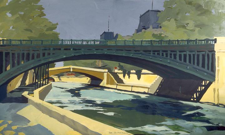 """Pont au Double et Petit Pont - Acrylique sur toile - Peinture de la série """"Les Ponts de Paris"""" de Michelle AUBOIRON"""