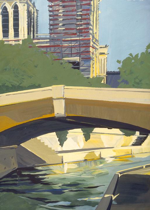 """Petit Pont et Notre Dame - Acrylique sur toile - Peinture de la série """"Les Ponts de Paris"""" de Michelle AUBOIRON"""