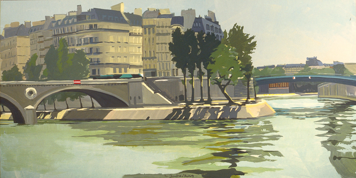 """Pont Louis-Philippe et Pont Saint-Louis - Acrylique sur toile - Peinture de la série """"Les Ponts de Paris"""" de Michelle AUBOIRON"""