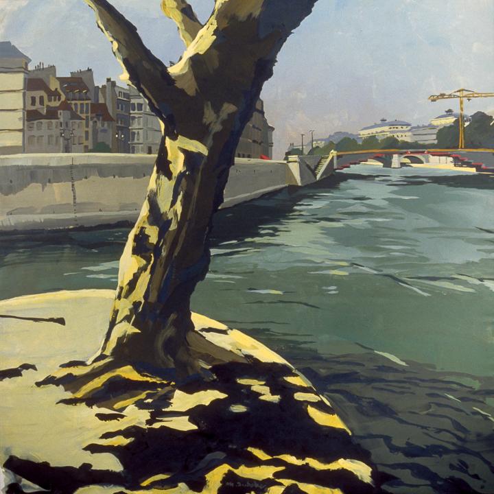 """Pont d'Arcole et Ile de la cité - Acrylique sur toile - Peinture de la série """"Les Ponts de Paris"""" de Michelle AUBOIRON"""