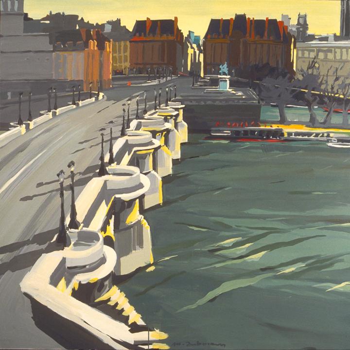 """Le Pont Neuf depuis la Samaritaine - Acrylique sur toile - Peinture de la série """"Les Ponts de Paris"""" de Michelle AUBOIRON"""