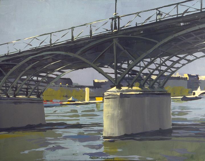 """La Passerelle des arts - Pile - Acrylique sur toile - Peinture de la série """"Les Ponts de Paris"""" de Michelle AUBOIRON"""