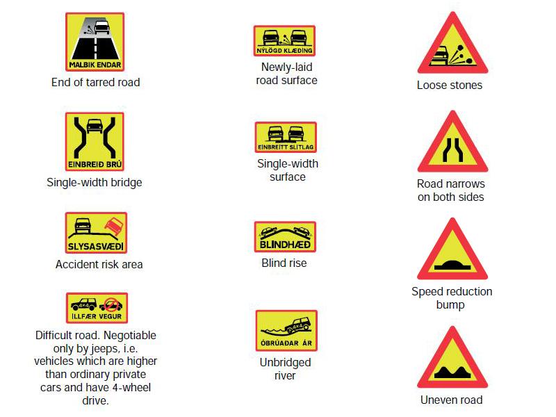 Panneaux Signalisation Islandais