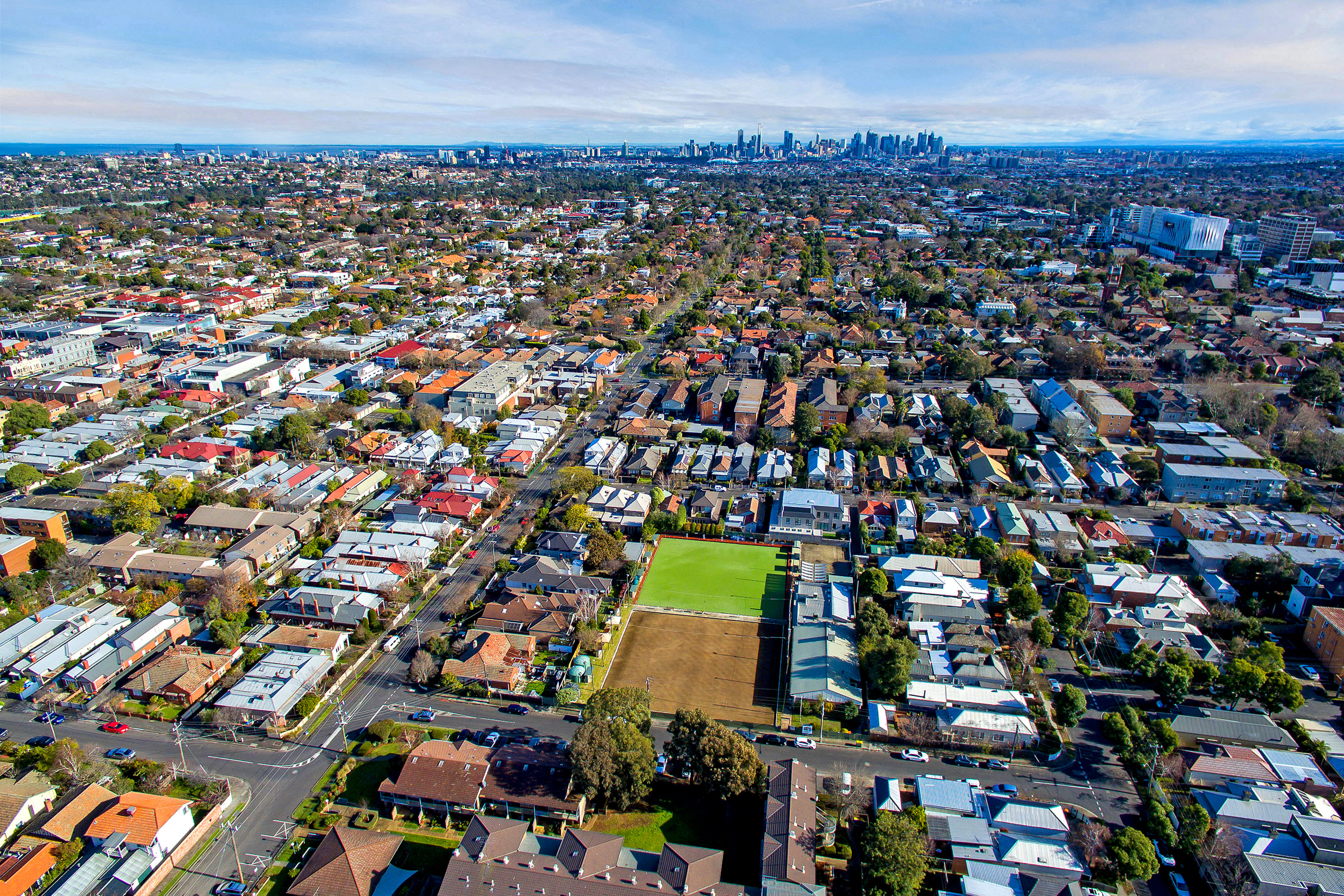 Drone view of Auburn and the Melbourne CBD