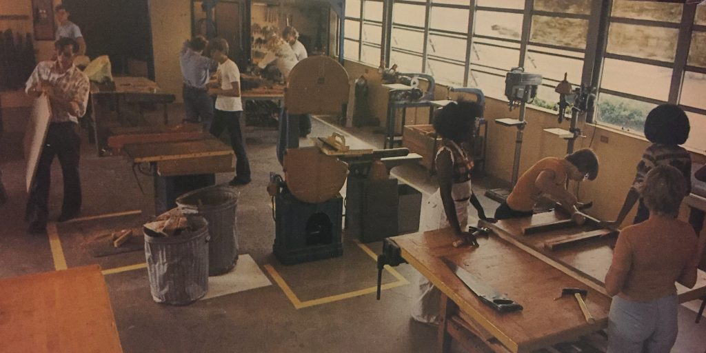 The woodshop in action, 1977