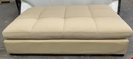 PU Leather Cream Large Ottoman - Brand New