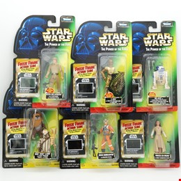 Six Kenner 1997 Star Wars The Power of the Force Figures with Freeze Frame Action Slide, Includes C-3PO, R2-D2, Ewoks and More, New Old Stock