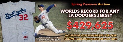 570b0a178 Koufax Jersey Sets L.A. Dodgers Record in Goldin Auctions Spring ...