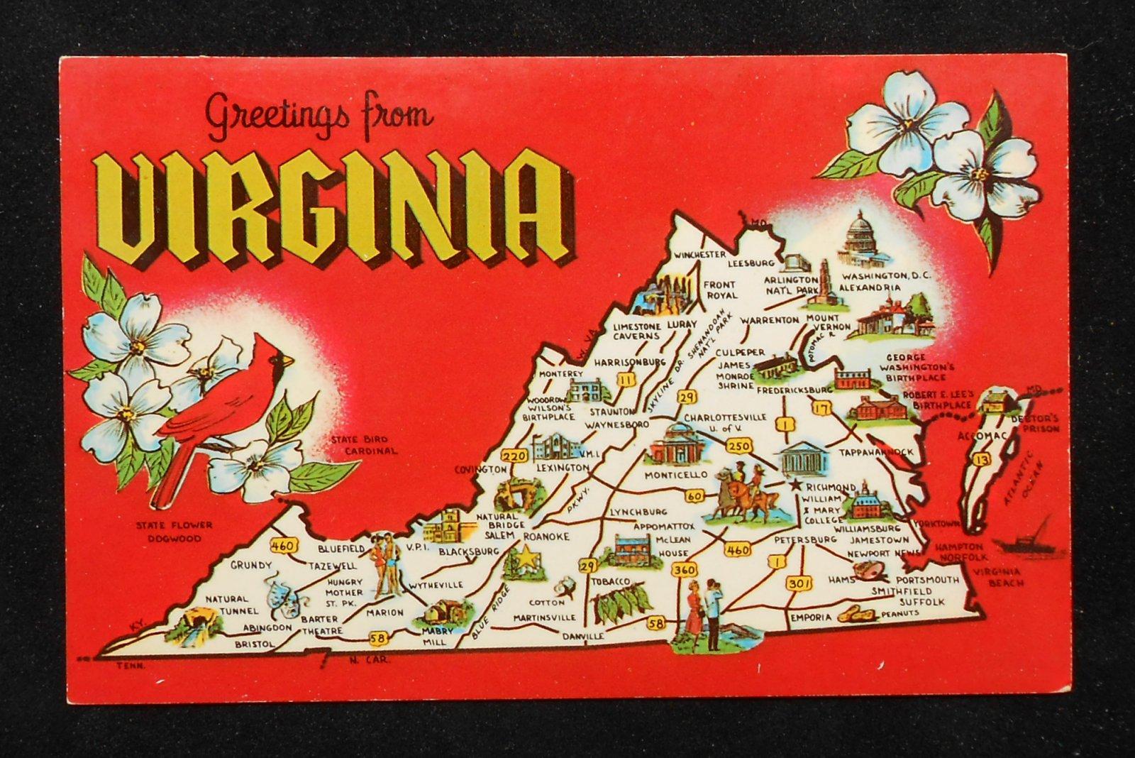 S Virginia State Map Landmarks Icons Bird Flower Va