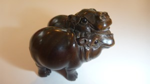 Carved wooden Netsuke - Two Pygmy Hippos