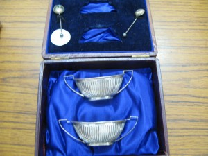 Pair of Cased Silver Salts