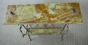 A Marble Top Magazine Rack/Table
