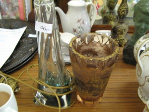 Lot 46 - Belgium Glass Lamp Stand and Unusual Vase with Stage Coach design. Sold for £60.