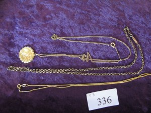 Lot 336 - Three gold chains - Sold for £60