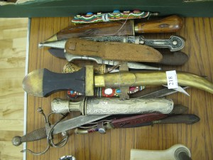 Lot 218 - Collection of knives including kurcris, hunting and daggers - Sold for £45