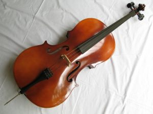 """3/4 size Cello BH400 made by Boosey and Hawkes in Czechoslovakia. 44"""" high. Bought 20 years ago but has had little use. New bridge partly fitted. String missing. In very good condition."""