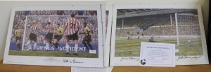 Lots 76 & 77 - Signed by Laurie McNenemy, Matt Le Tissier and another Southampton Football Club Prints -Sold for £50