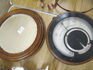 Lot 291 - Barometer and mirror - Sold for £40