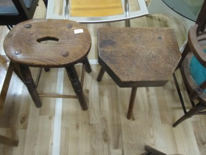 Lot 283 - Two oak stools - Sold for £40