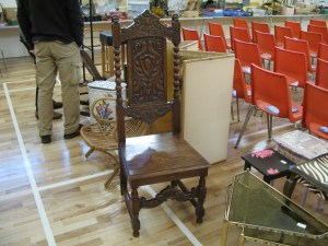 Lot 194 - Ornately carved tall back oak chair - Sold for £30