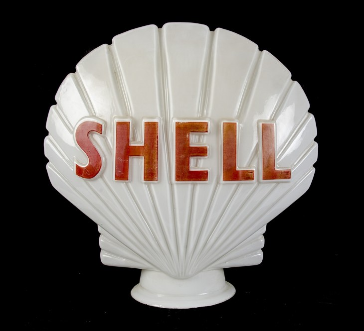 Shell White Glass Petrol Pump Globe Light