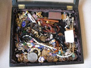 Lot 169 - Large collection of costume jewellery and badges - Sold for £45