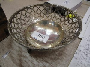 Lot 360 - Latticed Silver Bowl - Sold for £40